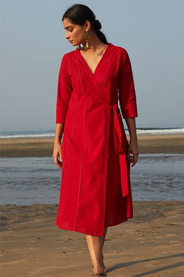 Okhai 'Cupid' Hand Embroidered Pure Cotton Wrap Dress