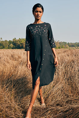 Okhai Purpose Pure Cotton Mirror Work Black Embroidered Dress Online