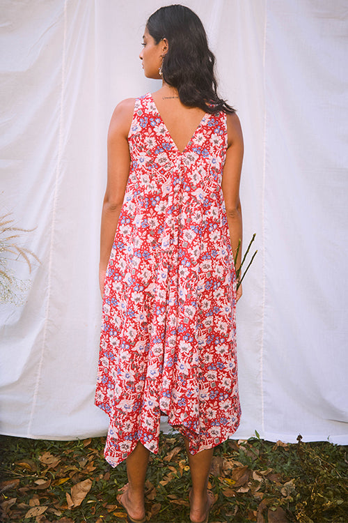 Okhai 'Spring' Pure Cotton Handblock Printed Sleeveless Dress