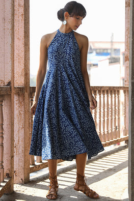 Okhai Indigo Harvest Pure Cotton Indigo Halter Neck Dress Online