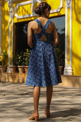 Okhai 'Equinox' Pure Cotton Indigo Sleeveless Cross-Back Dress