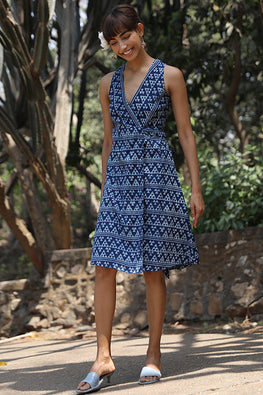Okhai Mountain Snow Pure Cotton Indigo Sleeveless Wrap Dress Online
