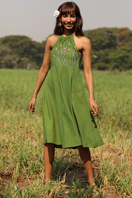 Okhai 'Savanna' Hand Embroidered Pure Cotton Dress