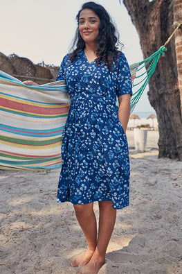 Okhai 'Blooming' Hand Block Printed Cotton indigo Dress
