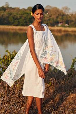 Okhai Daydream Hand Embroidered Mirror Work Pure Cotton Dress With Stole Online