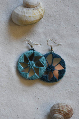 Okhai 'Dual' Classic Blue & Teal Earrings