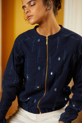 Okhai 'Drizzle' Hand Embroidery Mirror Work Cotton Bomber Jacket