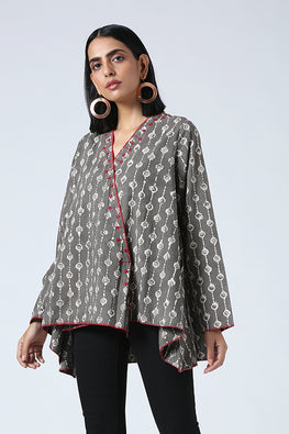 Okhai 'Hazel' Pure CottonDabu Printed Antifit Jacket