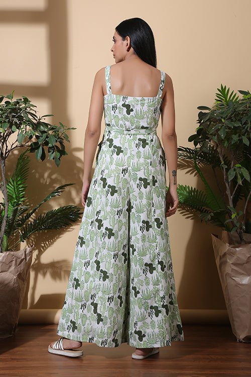 Okhai 'Succulent' Hand Block Printed Pure Cotton Jumpsuit