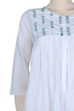 "Okhai ""Dove Feather"" White Mirror Work Kedio Top"