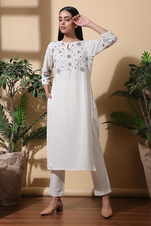 Okhai Plant Therapy Hand Embroidered Pure Cotton Kurta Set For Women Online