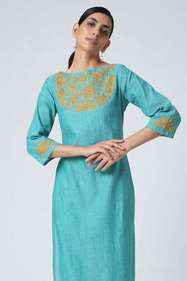 Okhai Kumud Applique Work Cotton Kurta Set For Women Online