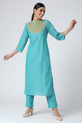 Okhai 'Kumud' Applique Work Cotton Kurta Set