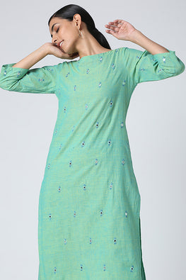 Okhai 'Neysa' Mirror Work Pure Cotton Kurta Pant Set