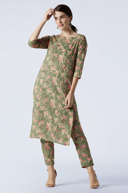 Okhai 'Pankhuri' Hand Block Printed Pure Cotton Kurta Pant Set