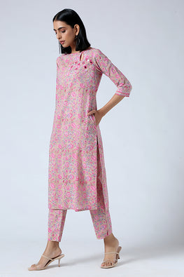 Okhai 'Flower Nectar' Hand Embroidered Mirror Work Pure Cotton Kurta Pant Set