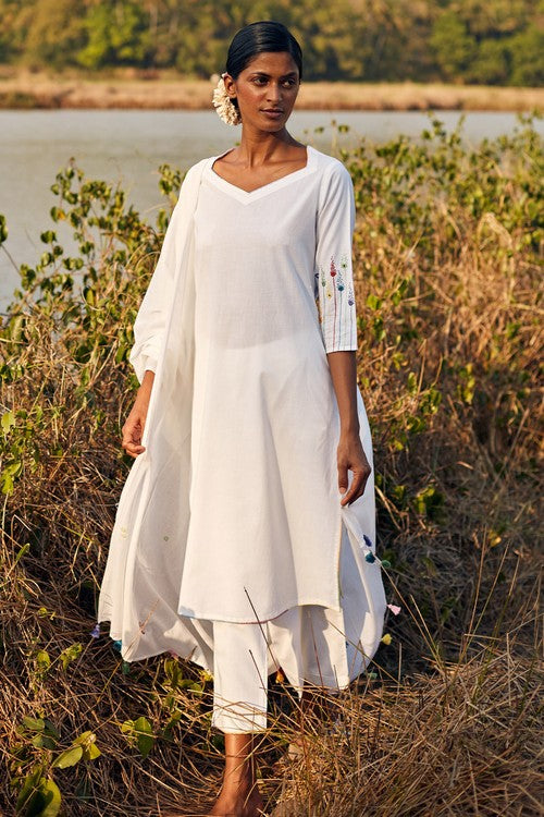 Okhai Reverie Hand Embroidered Pure Cotton Kurta Pant Dupatta Set Online