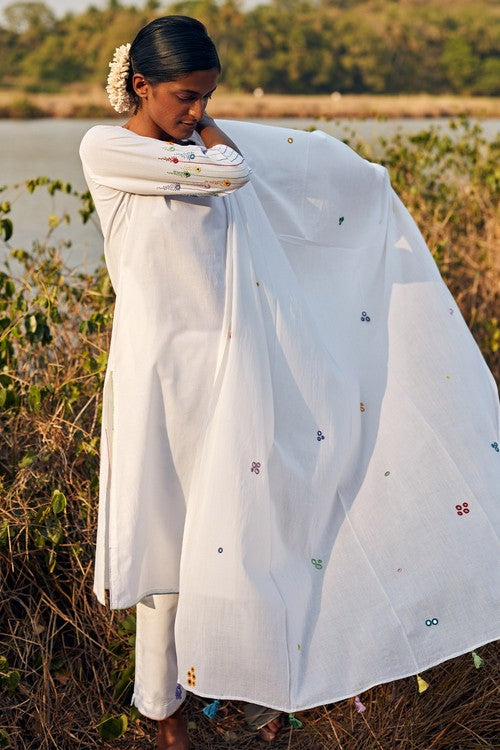 Okhai 'Reverie' Hand Embroidered Pure Cotton Kurta-Pant-Dupatta Set