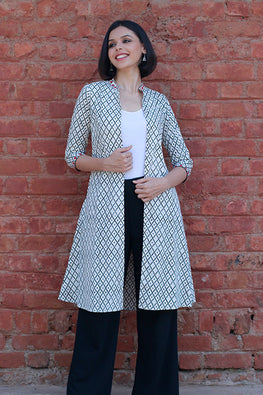 Okhai 'Open Road' Block Printed Long Shrug