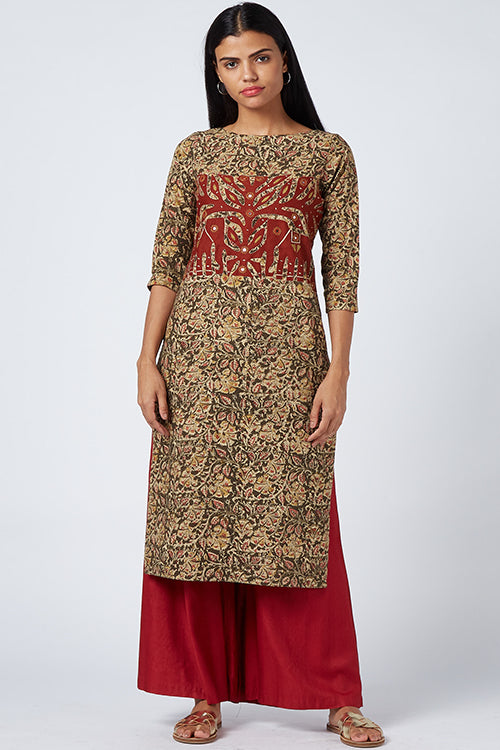 Okhai 'Floral Night' Appliqué kalamkari Cotton Kurta