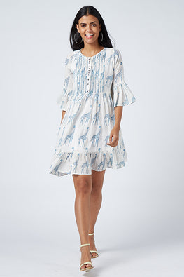 Okhai 'Blue Safari' Cotton Mul Summer Dress