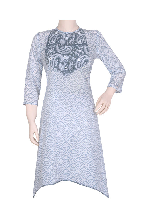 "Okhai ""Shape of You"" Mirror Work Hand Block Printed Kurti"