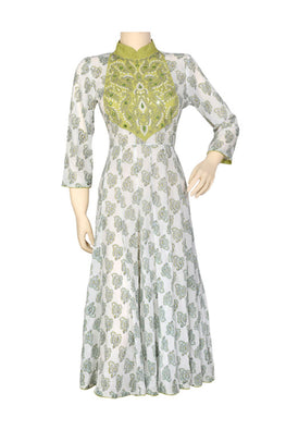 "Okhai ""Green Orchid"" Hand Block Printed Embroidery Dress"