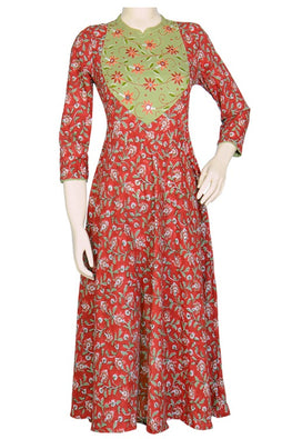 "Okhai ""Spring Forest"" Hand Block Embroidery Kurti"
