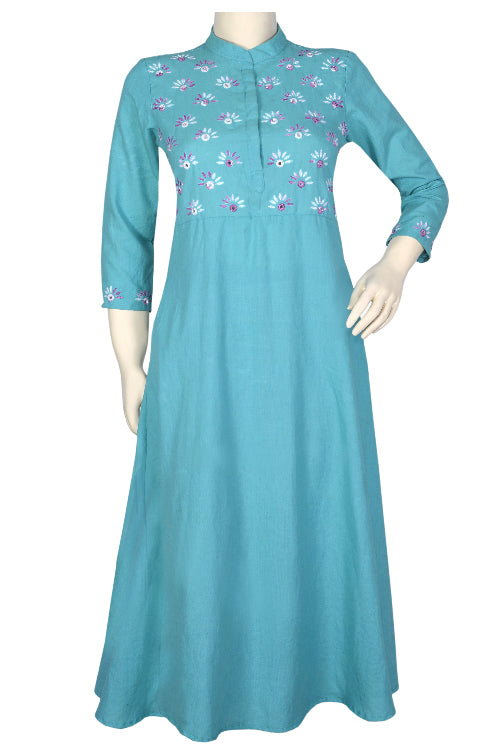 "Okhai ""Spring Sky"" Cotton Long Kurti."