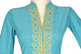 "Okhai ""Teesta Teal"" Applique Work Dress"