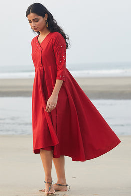 Okhai Red Rose Pure Cotton Hand Embroidered Dress For Valentine Online