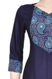 "Okhai ""Prussian Petal"" Embroidery Work Kurta"