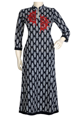 "Okhai ""Black Garnet"" Mirror and Applique Work Kurta"