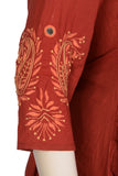 "Okhai ""Amber Flame"" Hand Embroidered Kurti"