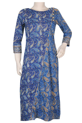 "Okhai ""Blue Rivulet"" Mirror Work Long Kurti"