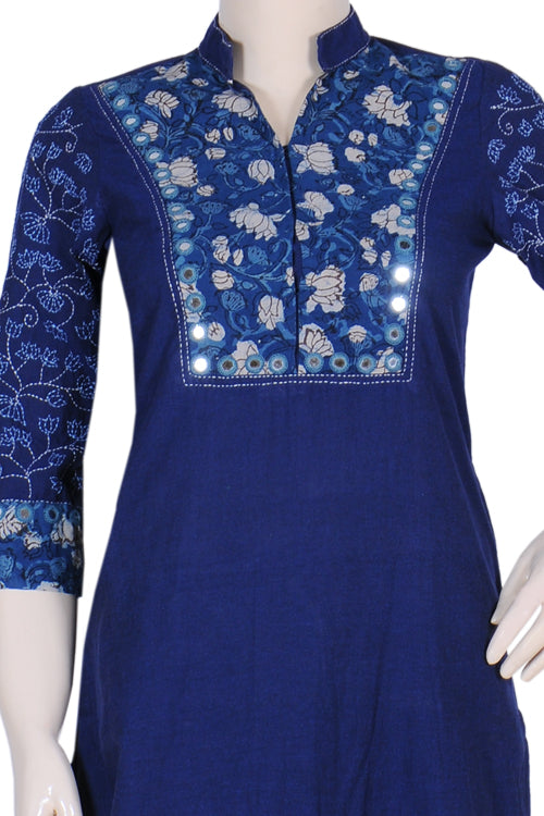 "Okhai ""Blue Bonita"" Embroidered Long Kurti"