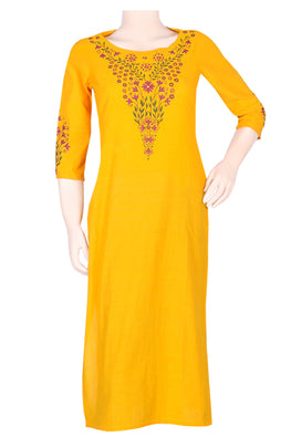 "Okhai ""Honey Harvest"" Embroidery Work Kurti"