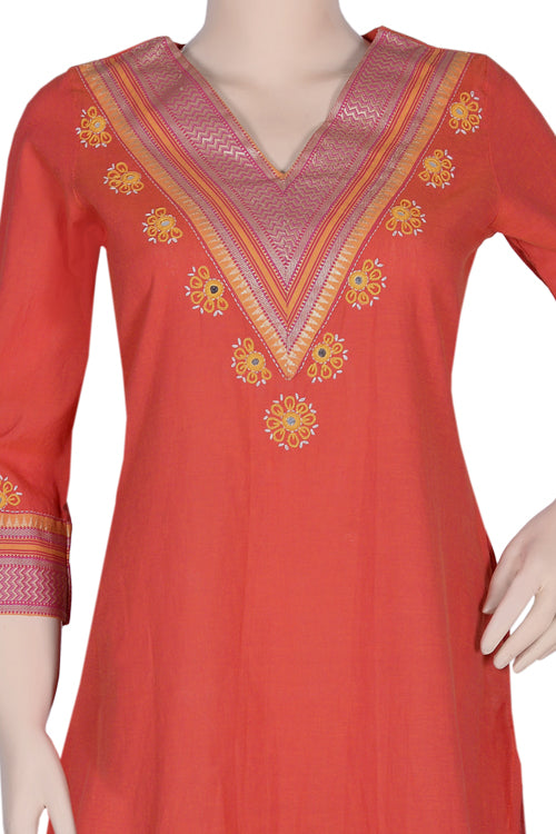 "Okhai ""Vibrant Summer"" Mirror Work Kurti"