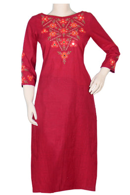 "Okhai ""Rouge Bouquet"" Embroidery Work Kurti"