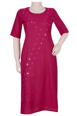 "Okhai ""Red Ruby"" Embroidery Work Kurti"