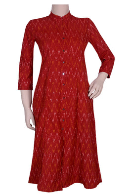 "Okhai ""Ethnic Allure"" Mirror Work Ikkat Kurta"