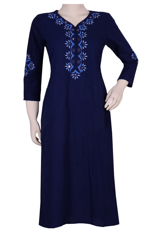 "Okhai ""'Ocean Mystique"" Embroidery Work Kurti"