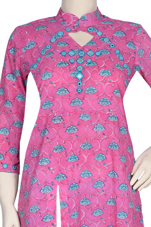 "Okhai ""Enchanting Flowers"" Mirror Work Kurti"