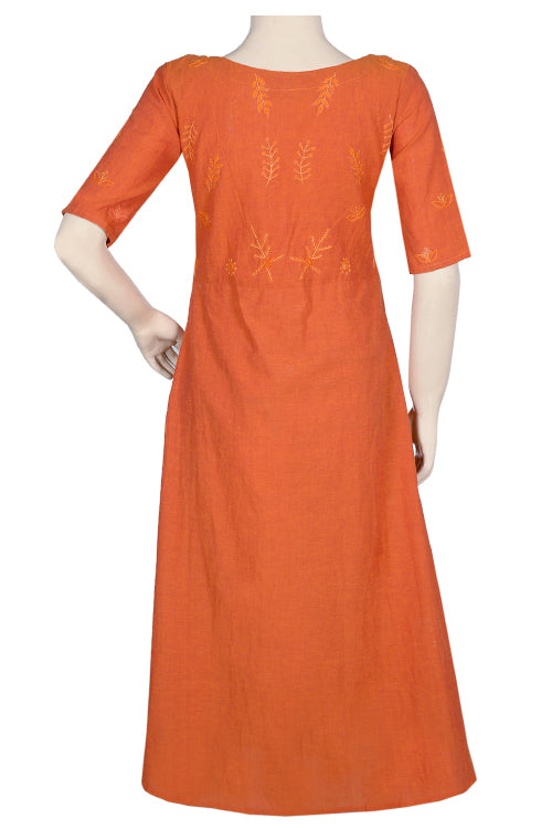 "Okhai ""Kesari"" Embroidery Work Dress"