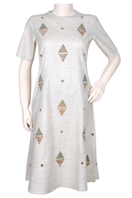 Okhai 'Corner Café' Cotton Slub Appliqué Dress