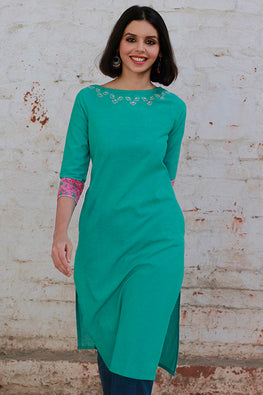 Okhai 'True Blue' Embroidered Kurta