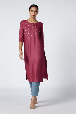 Okhai 'Iris' Embroidered Cotton Silk Kurta