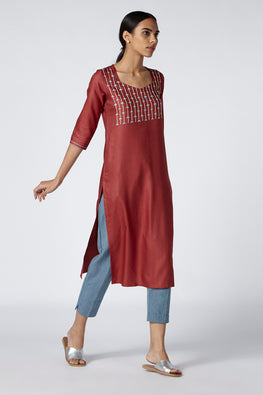 Okhai 'Sutra' Embroidered Cotton Silk Kurta