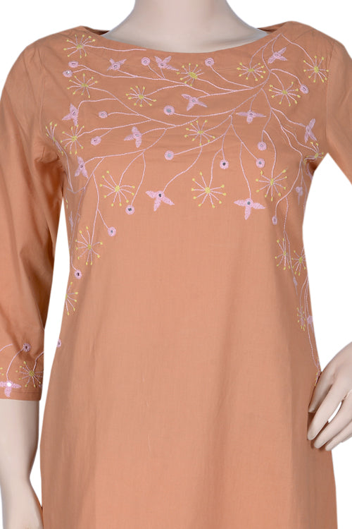 Okhai 'Carnation' Cotton Cambric Embroidered Kurta