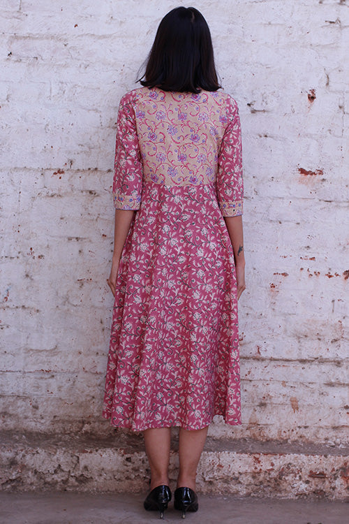 Okhai 'Pink Lotus' Block Printed Cotton Dress